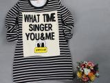 2014韩版品牌秋款童装 时尚条纹长袖套头圆领女士T恤 厂家直销