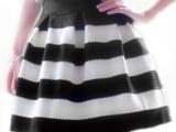 欧洲站修身女装横黑白条纹半身裙短裙高腰蓬蓬裙2014秋款正品批发