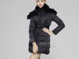 2013新款高端奢华狐狸毛披肩连帽子修身中长款加厚白色羽绒服
