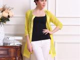2014夏季新款女装 韩版时尚格纹7分袖女士薄款外套 厂家批发直