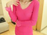 淘宝货源新款女装甜美V领蕾丝花边弹力修身针织打底衫W-017