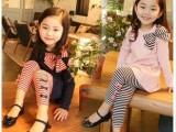2014春装新款韩版女童装大蝴蝶结条纹打底裤套装童装厂家批发