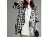 实拍女2014冬装新款欧洲站时尚长袖西装领加厚千鸟格大衣外套