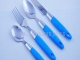 新款九点塑料柄餐具 不锈钢塑料柄西餐餐具刀叉勺四件套 创意餐具