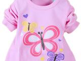 2014春装 长远旺仔 女童T恤 婴儿肩扣长袖T恤 三只蝴蝶