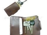 高档油皮复古风格可装开门卡 钥匙包