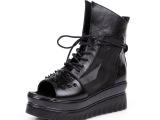 2014夏季新款女鞋真皮鱼嘴防水台高跟牛皮女士鞋厂家直销一件代发