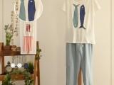 2014夏装新款日系森女系 圆领小鱼图案纯色短袖女装t恤
