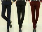 2014潮流纯色黑色秋冬棉锦休闲长裤修身款 韩版休闲裤藏蓝色常规