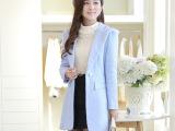 2015秋冬新款韩版毛呢大衣女 中长款女式羊毛外套批发 一件代发