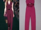 欧洲站2014夏装新款V领紫红色连体裤中腰直筒裤长裤显瘦连衣裤