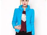 2014新款韩版女式羽绒服 堆堆领长袖薄款羽绒棉服冬装 罗玫妮服