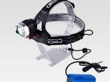 HAUKIM正品 强光大功率LED头灯高亮自行车灯矿灯带充电包量