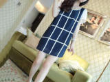 687新款时尚格子孕妇装连衣裙 气质夏季雪纺手工绣品上衣