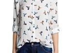 2014热卖款 女装批发小鸟印花图案女式雪纺长袖衬衫 欧美风格衬衫