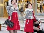 冬季连帽羽绒服中长款修身韩版羽绒服女款加厚棉服女士外套