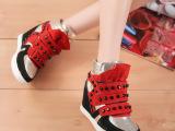 欧洲站春夏铆钉真皮内增高女鞋 坡跟拼色休闲高帮鞋 厚底单鞋女