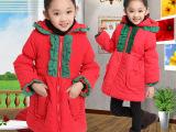2014韩版女童棉衣中大童棉服外贸原单圣诞棉袄中长款童装一件起批