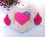 童装批发 冬季新款女童加绒加厚毛毛衣 宝宝超大爱心小蝴蝶结毛衣