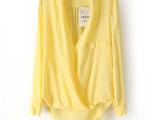 2014春夏装新款欧美女装前短后长人棉交叉深v领时尚性感衬衫批发