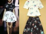夏季新款时尚套装欧美走秀款卡通印花上衣半身裙套裙两件套