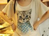 萧艾。新款日系森林系小清新学院风肩章猫咪蝙蝠袖纯棉t恤 女上衣
