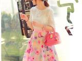 2014年新款媛风蕾丝上衣+半身裙+背心 3件套 休闲套装