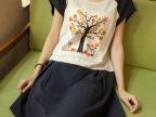 日系甜美森女系贴布彩色印花大树韩版拼色中长款休闲短袖连衣裙