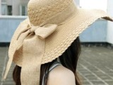 夏天海边韩版沙滩帽遮阳帽蝴蝶结大飘带大檐帽草编大草帽女帽折叠