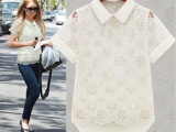 厂家直销 欧版 新款 镂空短袖 欧根纱 蕾丝 雪纺衬衫