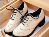 真皮坡跟女鞋布洛克单鞋浅口复古松糕鞋女粗跟厚底中跟韩版英伦潮