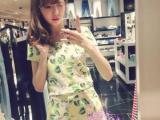 2014年夏季EMODA同款甜美茶花图案短袖上衣+短裤套装