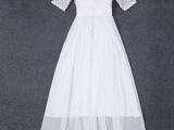 2015菁菁明星同款新款欧美钉珠蕾丝拼接雪纺长款连衣裙长裙