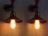 美式乡村复古双头水管工业壁灯 书房卧室床头小宜家个性创意壁灯