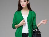 秋装新款纯色针织开衫女外套  韩版羊绒衫修身V领长袖女式针织衫