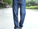 夏季大码宽松男士牛仔裤 简约纯棉中腰直筒加肥薄款牛仔青春经典