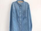 秋装新款韩版大码宽松百搭显瘦简单明线中长款深色衬衫牛仔衬衣女
