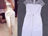 2014欧美大牌春夏女装新款 蕾丝修身开衩短袖气质连衣裙J801