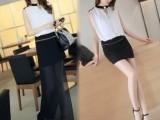 一件代发2014夏装韩版V领包臀 两穿性感修身 无袖雪纺连衣裙