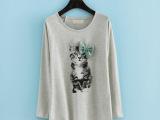 日系原单外贸 可爱萌萌小猫印花蝴蝶结前短后长袖TEE恤