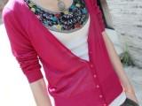 004#韩版春夏女式针织开衫修身V领长袖开衫防晒空调衫开衫批发