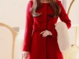 14【镇厂之宝】韩国圣诞必甜美可爱仿毛领修身红呢子大衣外套A24