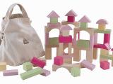 外贸原单英国ELC积木100块有收纳布袋儿童木制积木玩具粉色
