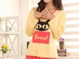 女士睡衣棉质长袖卡通可爱小甜猫针织棉睡衣