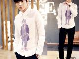 2015春夏韩版新款印花眼镜小孩韩版个性长袖白色衬衫289CS0