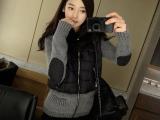 2014秋冬新款韩版假两件连帽毛线拼接修身羽绒棉服女式女装