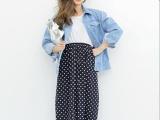 2013韩国代购雪纺波点高腰半身裙 开叉