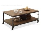 美式铁艺可移动实木茶几 复古风实木电视柜 创意防锈实木置物架