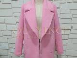 2014冬装新款茧型毛呢外套中长款女粉色羊毛毛呢大衣女 批发