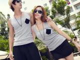 2014夏季新款韩版 海边度假男背心短裤女短裤沙滩情侣套装AM8